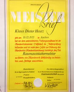 Meisterbrief-Heutz Raumausstattung