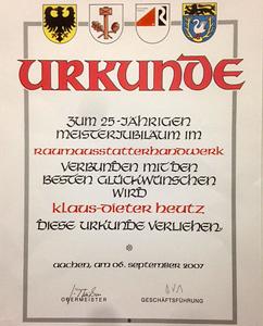 Heutz Raumausstattung - Urkunde zum 25-jährigen Jubiläum